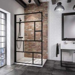 Duschwand Industrial, schwarz matt