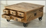 Couchtischtruhe mit 1 Klappe, 5 Schubladen, aus Mangoholz, Antik, braun, Wortprints, 90 x 90 x 47 cm