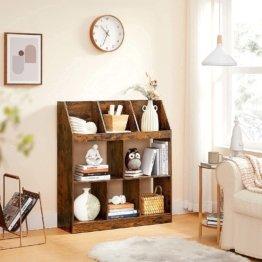 Bücherregal, 5 Fächer unten, 3 Fächer oben, für Büro, Wohnzimmer, Schlafzimmer, Kinderzimmer, 90 x 28 x 100 cm, vintagebraun