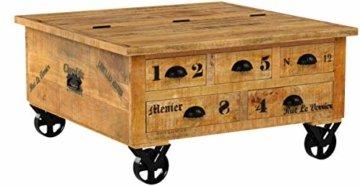 Couchtischtruhe mit 1 Klappe, 5 Schubladen, aus Mangoholz, Antik, braun, Wortprints, 90 x 90 x 47 cm -