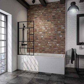 schwarz-matt, Duschabtrennung für Badewanne Loft, industrial -
