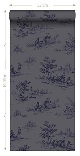 Tapete Toile de Jouy Grau und Blau  von Origin – luxury wallcoverings -