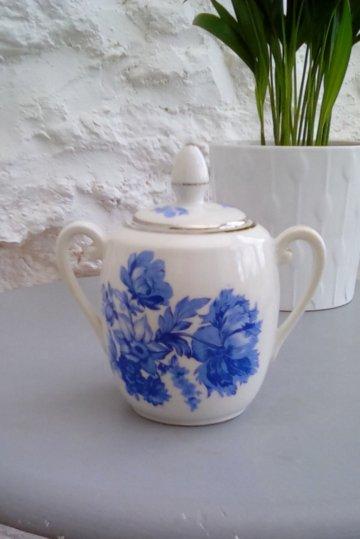 Vintage Blau Und Weiß Porzellan Suger Schale, Bonbon Glas