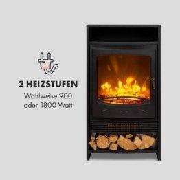 Klarstein Bergamo Elektrischer Kamin, 2 Heizstufen: 900/1800 W, Thermostat, dimmbare, realistische Flammenillusion: unabhängiger LED-Flammeneffekt mit Resin-Holzscheiten, Holzoptik, schwarz