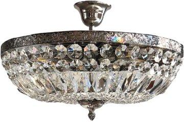 Kristall Deckenleuchte SCHÖNBRUNN Ø45cm French Antik Silber gefertigt aus geschliffenen Kristallen