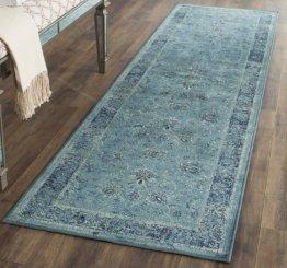 Safavieh Vintage Inspirierter Teppich, VTG112, Gewebter Weiche Viskose-Faser Läufer, Hellblau / Grau, 62 x 240 cm