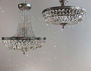 Kristall Deckenleuchte SCHÖNBRUNN Ø45cm French Antik Silber gefertigt aus geschliffenen Kristallen -