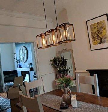 Saint Mossi Metall Kronleuchter Beleuchtung mit 3 Light,Rustikal Vintage Farmhouse Pendelleuchte, Schwarzes Finish Kronleuchter,W14cm x L70cm x H125cm mit verstellbarer Kette -