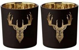 EDZARD 2er Set Teelichthalter Teelichtglas Windlicht Wald, Hirsch-Motiv, außen schwarz / innen Gold, Höhe 8 cm, Durchmesser 7 cm