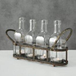 ReWu Teelichthalter Windlicht aus rostigem Metall mit 4 Klar Glas Flaschen im Vintage Industrial Look