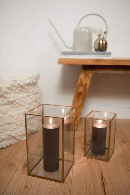 LaLe Living Laterne BATU M aus Eisen in Vintage Gold, Windlicht 16 x 27 cm für Stumpenkerzen und Teelichter