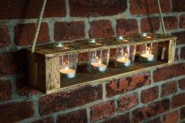 Zur Hochzeit, Geburtstag, Einzug Teelichthalter aus Altholz Holz von Obstkiste mit 4 Gläsern und Tau, Handgefertigt, Windlicht, Kerzenhalter, Laterne, Vintage, Upcycling