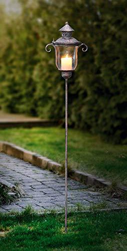 Dekoleidenschaft Stab-Laterne Shabby aus Metall & Glas im Antik Design, 118 cm hoch, Windlicht, Kerzenständer, Gartensticker -