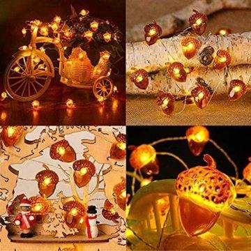 Lichterkette Eicheln Deko Lichterketten, 2M 20 LED Lichterketten Batteriebetrieben mit 8 Flimmer Modi, Fernbedienung und Timer für Herbst, Halloween, Erntedankfest, Hochzeit, Geburtstag Party -